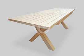 X-Leg Dining Table Reclaimed Pine