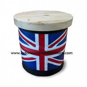 Scania Drum Stool Reclaimed Pine