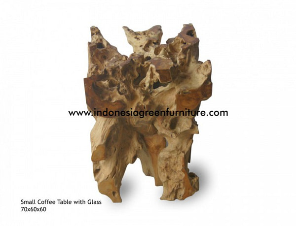 small teak root coffee table with glass